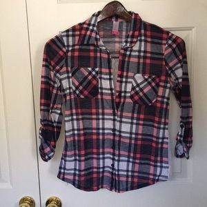 Plaid & lace collared shirt